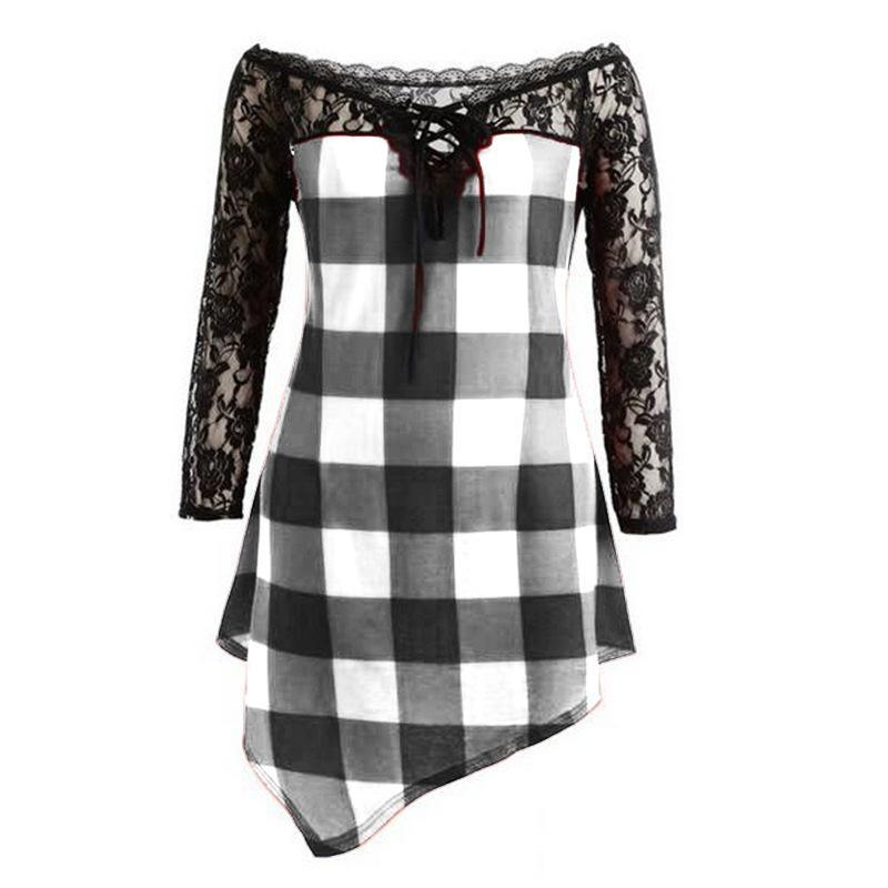 Plaid Checker Lace High Low Shirt