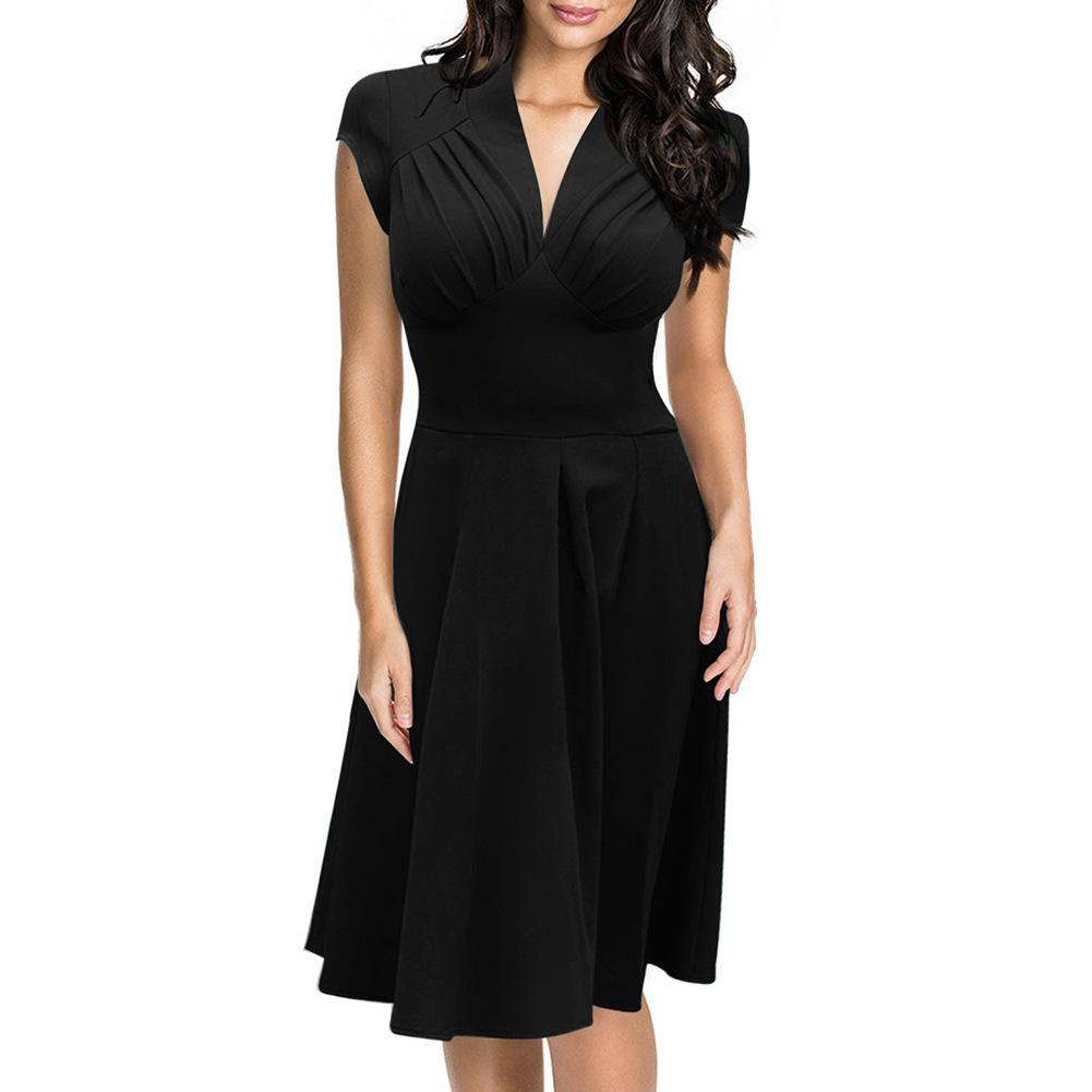 Pleated Plunging Cap-Sleeve A-Line Dress