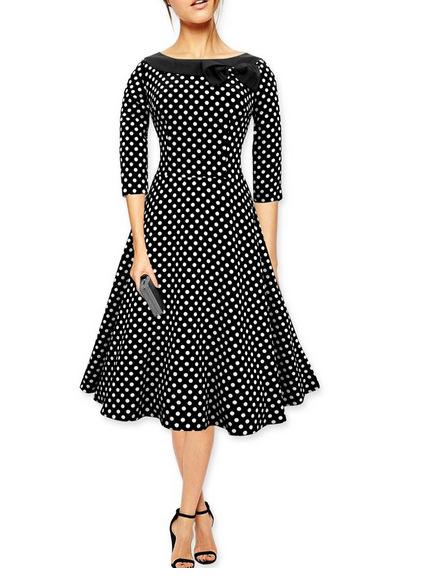 Polka-Dot Bow Fit & Flare Dress