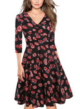 Black Floral Surplice A-Line Dress - Theone Apparel