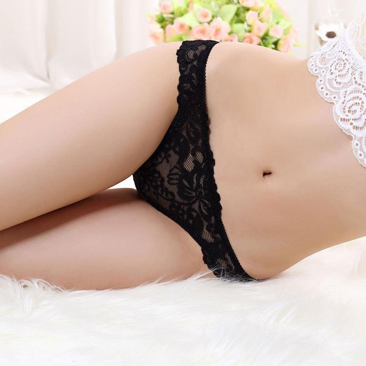 Scalloped Floral Lace Thong Panty