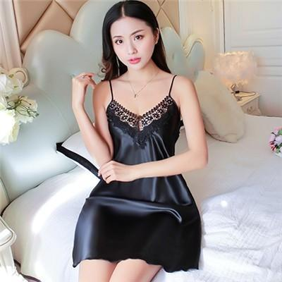 Sheer Illusion Trim Silky Nightie Dress