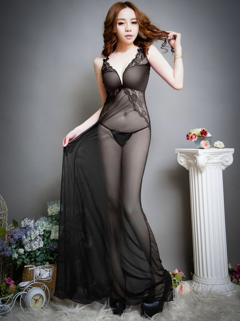 Sheer Lace Full-Length Lingerie Gown