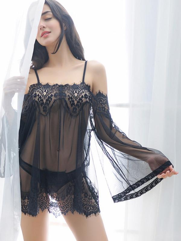 Sheer Lace Scalloped Hem Lingerie Dress