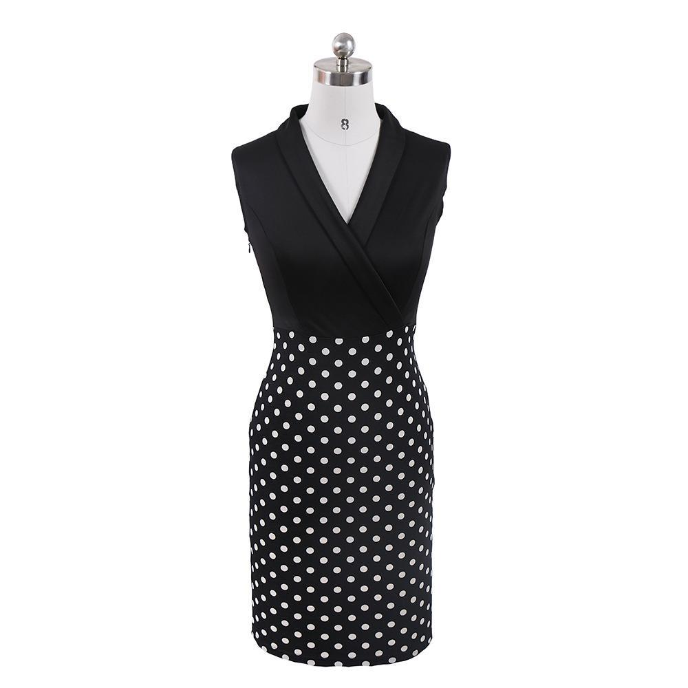 Sleeveless Polka Dot Office Dress