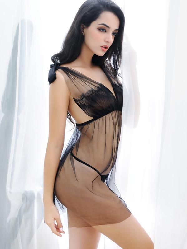 Vintage-Inspired Lacy Sheer Babydoll
