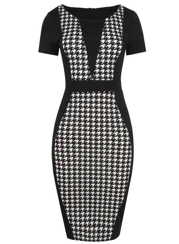 Black & White Contoured Sheath Dress - Theone Apparel