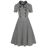 Gingham Double Breasted Bow Dress