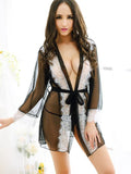Lace Trim Lingerie Robe Set