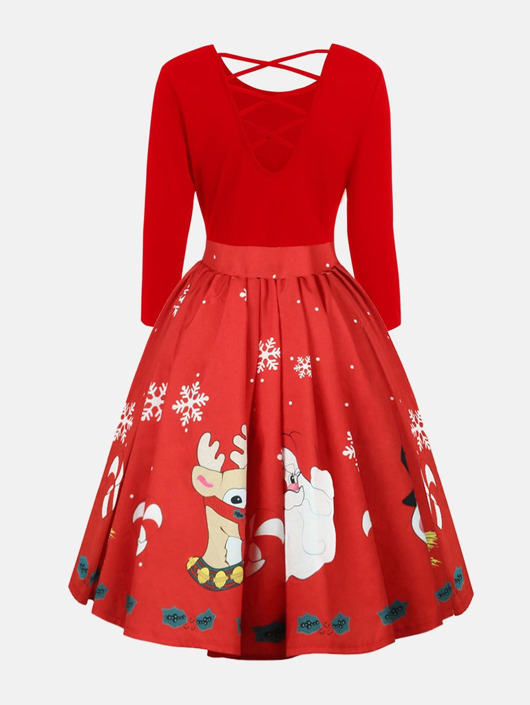 Black and Red Christmas Plus Size Dress