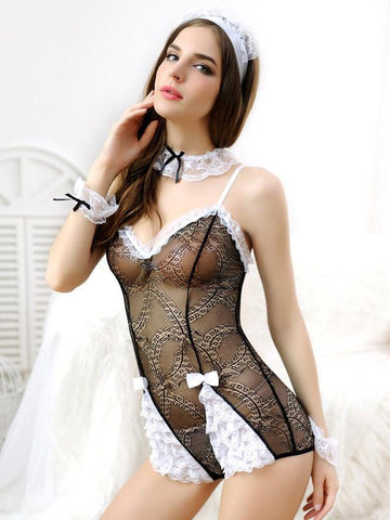 Black and White Lace French Maid - Theone Apparel