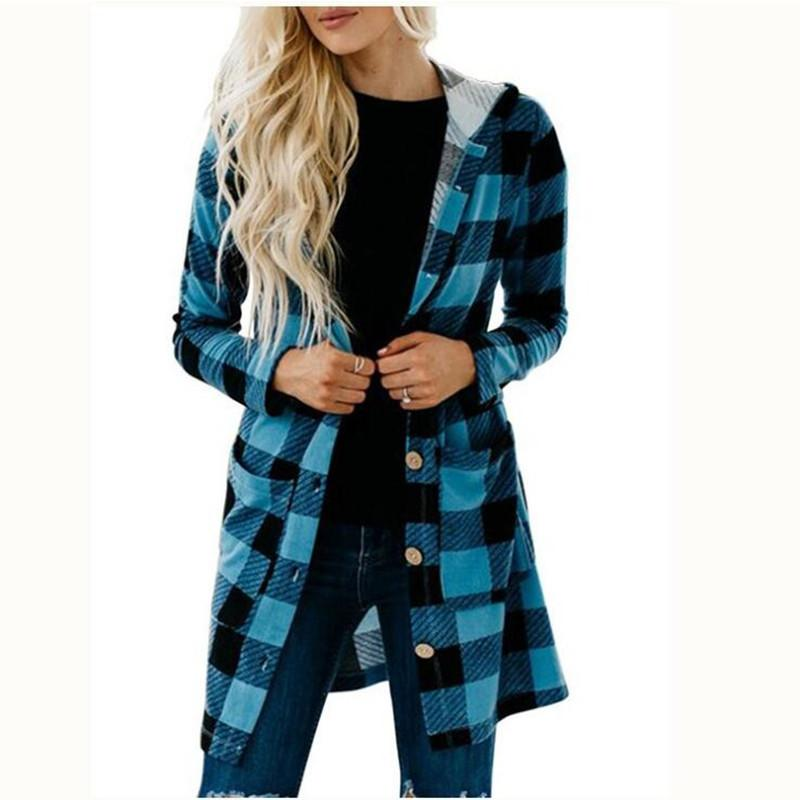 Buffalo Check Hooded Button Jacket - Theone Apparel