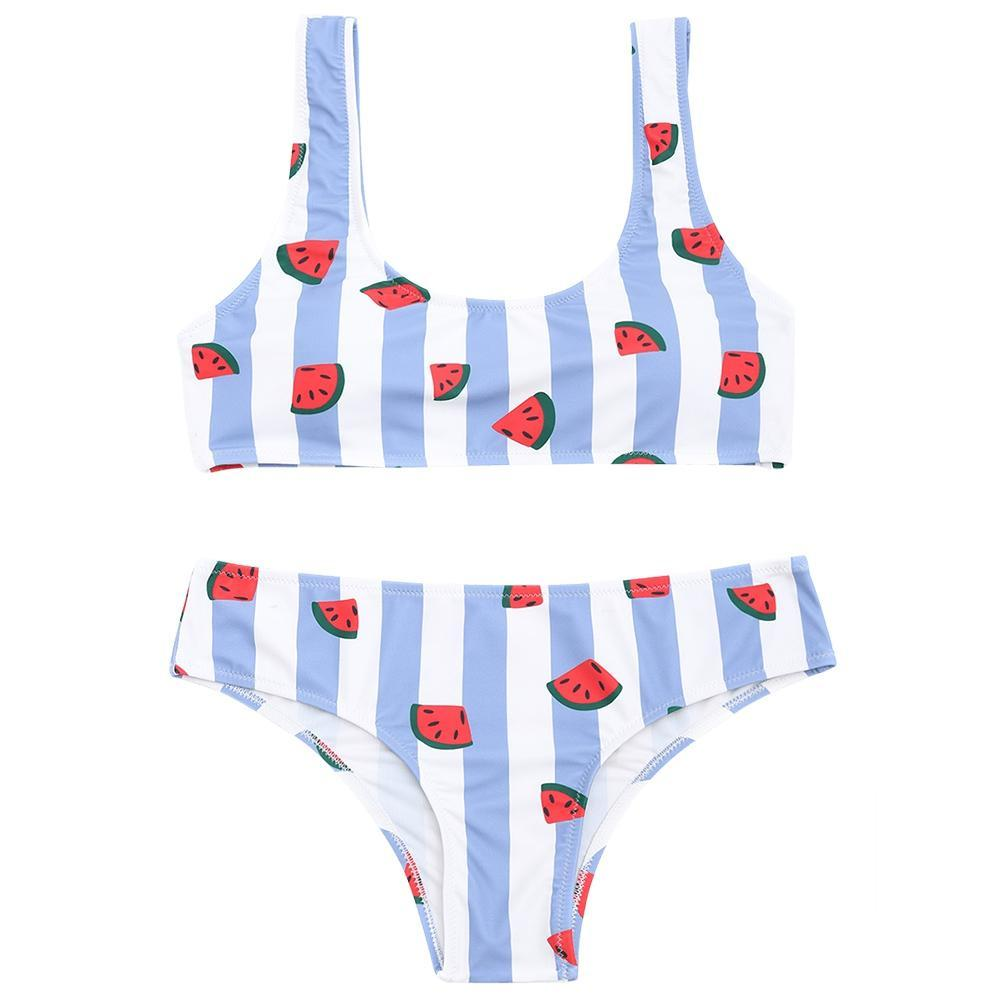 Adorable Watermelon Striped Bikini Set - Theone Apparel