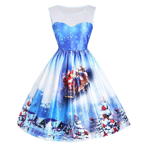 Blue and White Christmas Party Dress - Theone Apparel