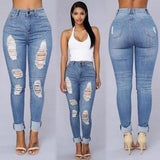 Bootylicious Distressed Denim Cuff Jeans - Theone Apparel