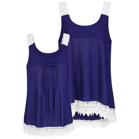 Bows and Embroidered Lace Hem Tank - Theone Apparel