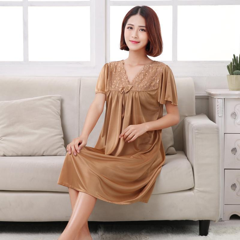 Short Sleeve Pleated Nightgown Dress