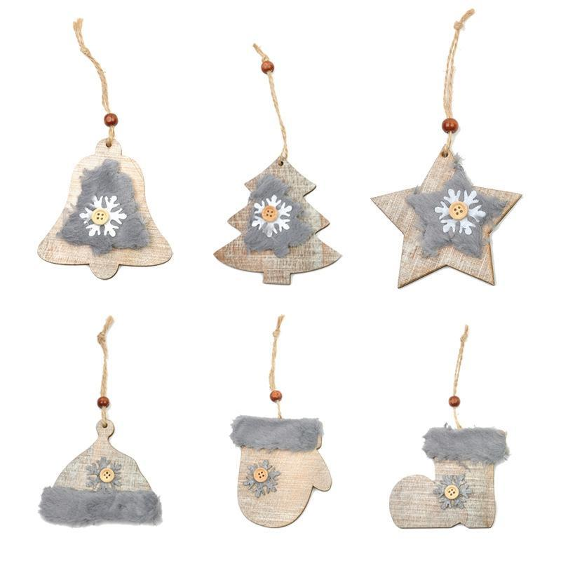 Wooden Christmas Themed Tree Ornaments