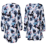 Button Up Butterfly Print Blouse - Theone Apparel