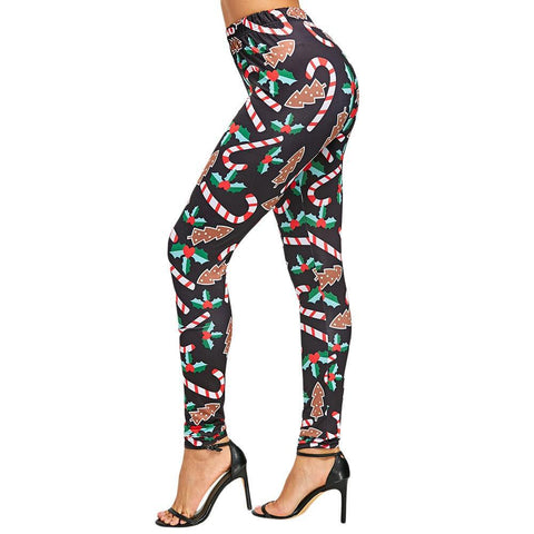 Candy Cane Mistletoe Tight Leggings - Theone Apparel