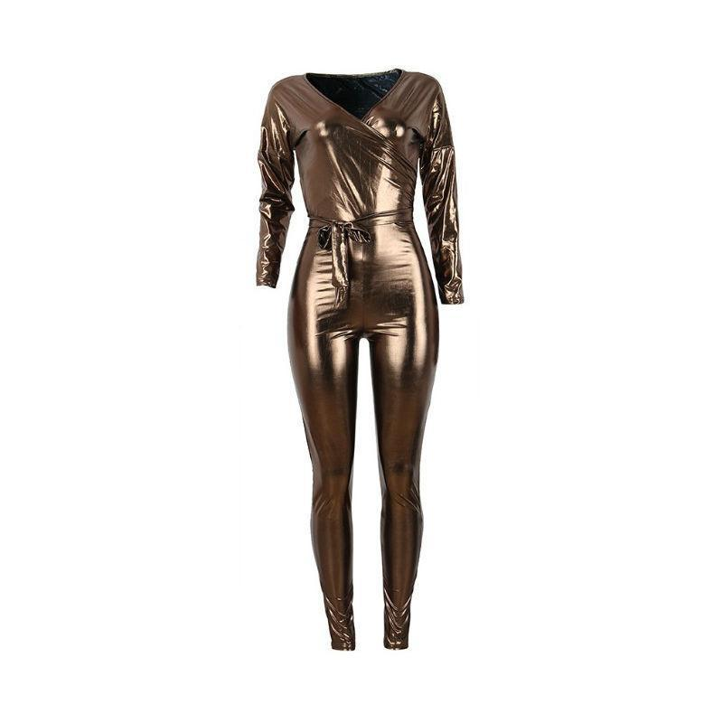Bronze Beauty Metallic Jumpsuit - Theone Apparel