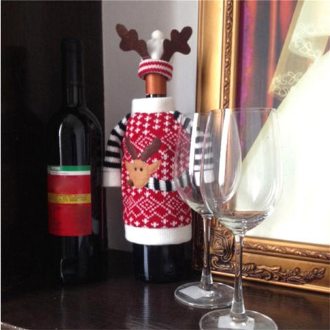 Christmas Red Wine Champagne Bottle Covers - Theone Apparel