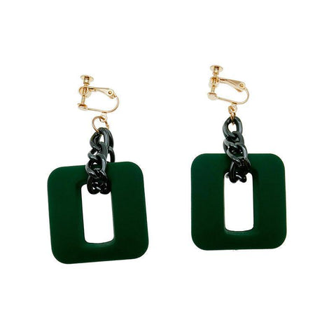 Chunky Square Link Dangler Earrings - Theone Apparel