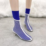 Clear Heel Fishnet Statement Booties - Theone Apparel