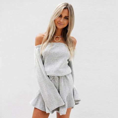 Cozy Off-the-Shoulder Romper - Theone Apparel