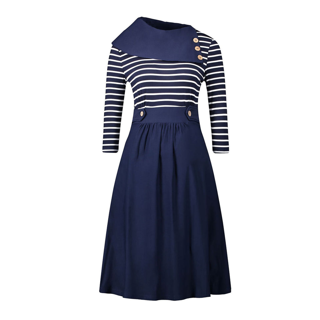 Asymmetrical Collar Sailor Stripe Dress - Theone Apparel
