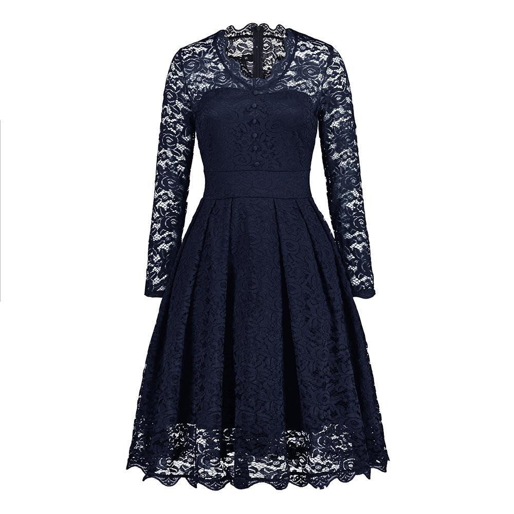 Button Front Lace Sleeve Dress - Theone Apparel