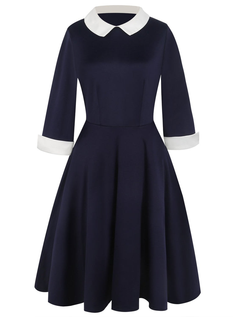 Contrast Collar & Cuffs A-Line Dress - Theone Apparel