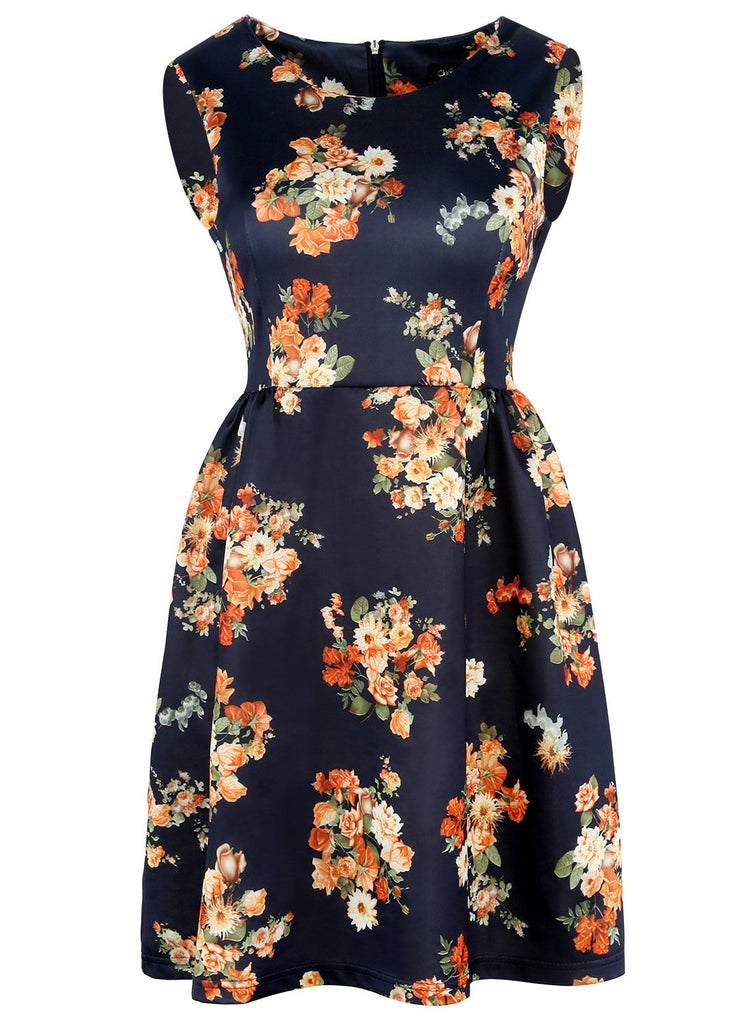 Floral Satin Sleeveless A-Line Dress
