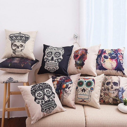 Day Of The Dead Skull Pillow Covers - Theone Apparel