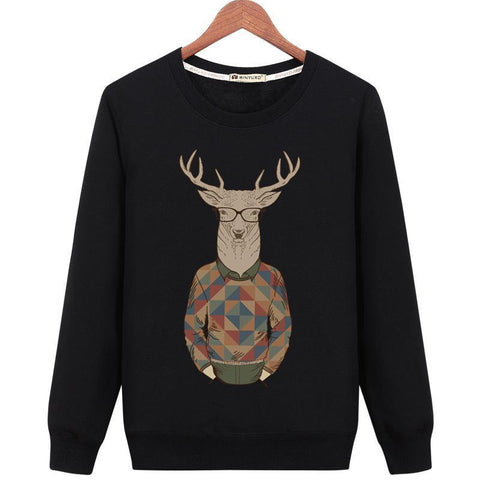 Deer With Hipster Glasses Sweater - Theone Apparel