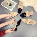 Distressed Fringe Fur Fashion Slippers - Theone Apparel