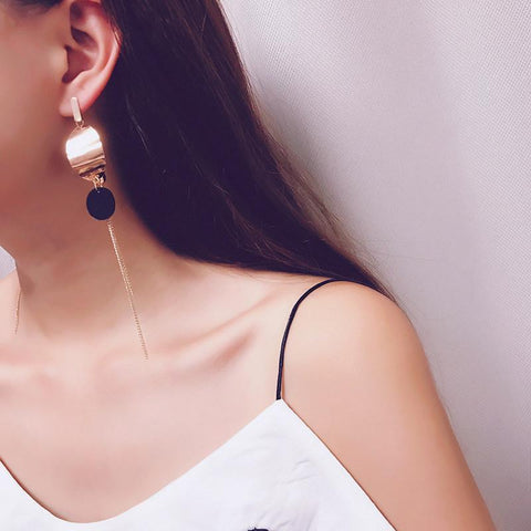 Dotted Delight Drop Chain Earrings - Theone Apparel