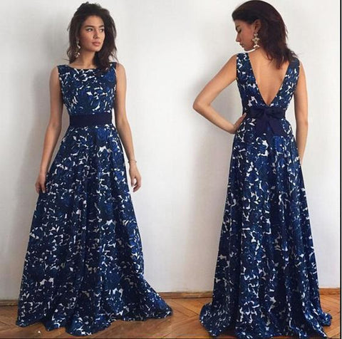 Dramatic Navy Floral Formal Gown - Theone Apparel