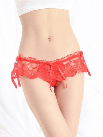 Eyelet Lace Skirted Crotchless Thong Panty - Theone Apparel