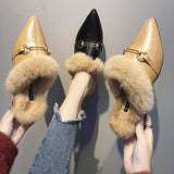 Faux Fur Lined Buckle Flats - Theone Apparel