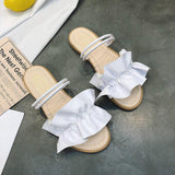 Faux Leather Ruffle Strap Sliders - Theone Apparel