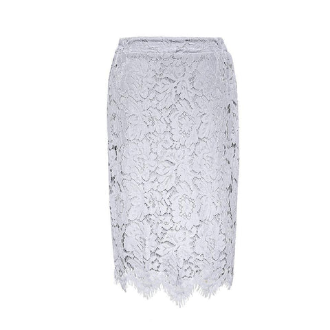 Floral Lace Fancy Hem Pencil Skirt - Theone Apparel
