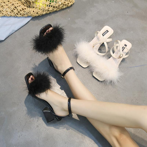 Fluffy Fur Strap Kitten Heel Sandals - Theone Apparel