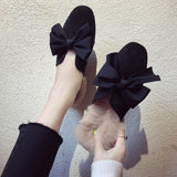 Fur Trim Floppy Bow Slippers - Theone Apparel
