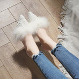 Fur Trim Pointed Toe Kitten Heels - Theone Apparel