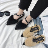 Fuzzy Faux Fur Statement Slides - Theone Apparel