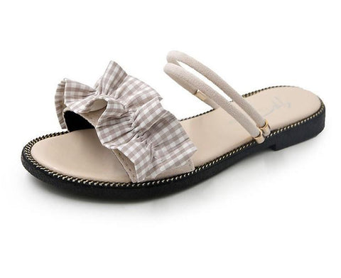 Gingham Print Ruffle Strap Flats - Theone Apparel