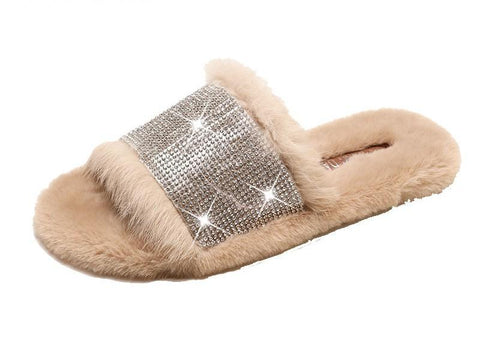 Glam Vibes Fur Lined Slippers - Theone Apparel