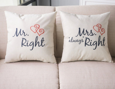His and Her Couples Pillow Cover