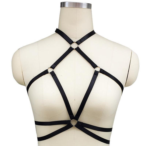 Hollow Out Open Bust Strappy Bra